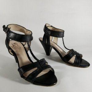 MRKT Black T-Strap Sandals w/ Braided Detailing